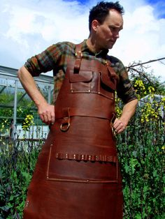 Buy an apron like this for the woodworker or craftsman in your life - the perfect gift idea!  Totally customizable for his needs, in a range of leather styles.