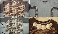 Child's clothing refashion. I need to do this with one of M's shirts that I picked up in the boy's section.