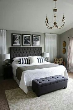 Black Bedrooms Design-Not a fan of the chandelier or the wall decor on the right though.