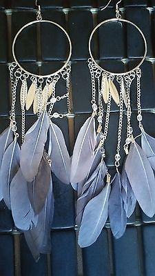 Feather Super Long Silver Trim Chandelier Dangle Fashion Earrings