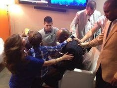 Praying with Pastor Steven Furtick and his family before ministering tonight at Elevation Church