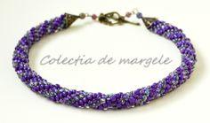 Purple wonderland - corchet beading necklace www.colectiademargele.ro Wonderland, Beading, Purple, Crochet, Bracelets, Collection, Jewelry, Fashion, O Beads