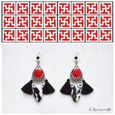 - Chryssomally ethnic chic silver earrings with red acrylic cinnabar, black and white jasper stones, black Swarovski crystals and black tassels. Silver Earrings, Drop Earrings, Ethnic Chic, Jasper Stone, Fashion Art, Fashion Design, Black And White, Red Black, Swarovski Crystals