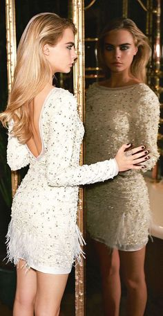 #street #fashion Cara Delevigne for @topshop / white encrusted mini dress @wachabuy