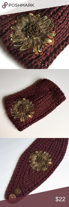 NWOT burgundy ear-warmer w/ feather floral detail NWOT ear-warmer/ headband in a deep crimson red with adorable flower, feather, and beaded detail! 2 buttons for adjustable fit. OS. Never worn or washed! Cato Accessories Hats