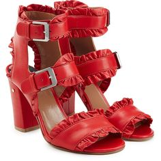 Laurence Dacade Ruffled Leather Sandals ($505) ❤ liked on Polyvore featuring shoes, sandals, red, strappy sandals, red shoes, red strappy shoes, red sandals and laurence dacade sandals