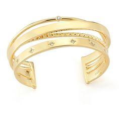 Elizabeth and James Cosmic Cuff Bracelet (Yellow Gold) Bracelet ($236) ❤ liked on Polyvore featuring jewelry, bracelets, gold, 24 karat gold bangles, 24k gold jewellery, bangle cuff bracelet, 24k gold bangles and 24k gold jewelry