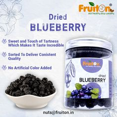 Buy Dried Blueberry Online from one of the best dried fruits online Fruiton which bring you the best quality dried berries online. Dried Berries, Dried Blueberries, Best Dried Fruit, Dry Fruits Online, Healthy Treats, Blueberry, Vitamins, Nutrition, Touch