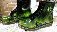 """From Steven Lane. """"New Zombie Doc Martens for a comission job"""". I like these! Creepier look to these!"""