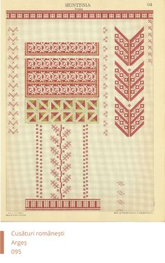 Arges Decoration Folk Embroidery, Learn Embroidery, Embroidery Patterns, Modern Embroidery, Cross Stitch Borders, Cross Stitch Patterns, Embroidery Techniques, New Tattoos, Free Pattern