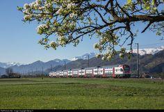 Regio Express 4866 from Chur via Sargans-Rorschach-St.Gallen to Wil (SG), with doubledeck trainset RABe 511 016 (Stadler Rail) between Sevelen and Buchs (SG). Swiss Railways, Chur, April 19, Train Rides, Bergen, Switzerland, Electric, Mountains, Travel