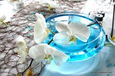 """décor de table pour mariage """"turquoise et chocolat"""""""