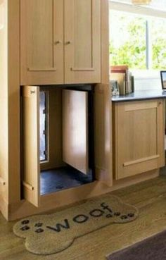 Hidden doggie door after adding the deck, make a built in seat at the kitchen window and hide dog door and hide outside with a plant shelf or seat. Dog Rooms, Dog Houses, My New Room, My Dream Home, Home Projects, House Ideas, House Plans, Home Improvement, Sweet Home