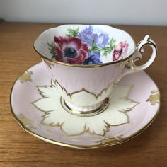 Paragon Pink Teacup and Saucer, Poppy Flower Tea Cup and Saucer, Bone China, 1960s
