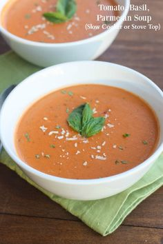The BEST Creamy Tomato Basil Parmesan Soup you can make in the Slow Cooker OR on the Stove top! Update 2/25/2016: This Tomato Basil Parmesan Soup is still one of the most popular recipes on my blog! I wanted to update it with some better pictures and give instructions for making it in the Slow …