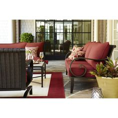 Superbe Allen Roth 2 Piece Pardini Red/Pink Aluminum Patio Conversation Set With  Solid Red Cushions | Event | Pinterest | Allen Roth, Patio Conversation Sets  And ...