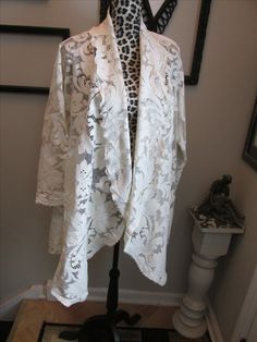 Lace waterfall jacket made from vintage tablecloth....new things from old things.