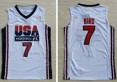 dd74b499b Ediwallen Men 7 Larry Bird Jersey Navy Blue White Basketball 1992 USA Dream  Team One Jerseys Breathable Embroidery And Sewing