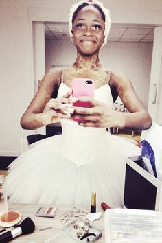 """Michaela DePrince getting ready for her role as Odette in Swan Lake for Het Nationale Ballet Junior Company  """"The two roles that I most dream of dancing are the role of Aurora in Sleeping Beauty, and the role of Odette/Odile in Swan Lake."""""""