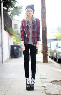 Thrifted Plaid Flannel with Tee Shirt, Beanie, Jewelry, Velvet Leggings & Lanas Shoes with White Laces