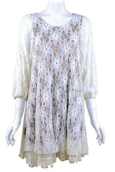 feminine lace tunic tops | lady noiz creamy lace tunic dress