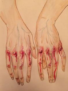 With bleeding hands. by viantart. Art Sketches, Art Drawings, Foto Fantasy, Vent Art, Arte Obscura, Sad Art, Aesthetic Art, Drawing Reference, Art Inspo