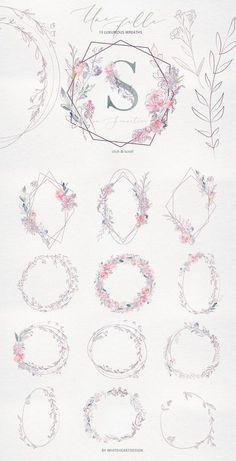 Une Fille Watercolor Artistic Set by whiteheartdesign on Creative Market # . - Une Fille Watercolor Artistic Set by whiteheartdesign on Creative Market U - Motif Floral, Art Floral, Floral Design, Design Art, Creative Design, Design Ideas, Graphic Design, Flower Patterns, Flower Designs