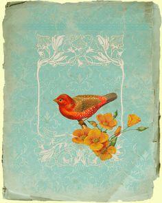 Little Red bird par TheBricklane sur DaWanda//i love these colors.