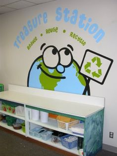 This is a photo of the mural I painted at the girl's school over the summer. It is for a new recycle, crafting station for the kids to mak. Recycling Station, Recycling For Kids, Craft Station, Recycled Decor, Recycled Crafts Kids, Recycling Information, School Murals, Reduce Reuse Recycle, Recycle Art