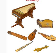 ALEMANIA Up/Down, left to right 1.- Geigen werk, chordophone / zither family (Germany / Europe)  2.-Zither, chordophone (Europe)  3.- Scheitholt chordophone / zither family (Germany / Europe) 4.- Stössel Laute chordophone / zither family (Germany / Europe) 5.- Geyerleier, chordophone / lute family (Germany / Europe). 6.- Heckel clarina, aerophone / single reed (Germany / Europe) 7.- Schalmei, aerophone / double reed  (Germany / Europe)