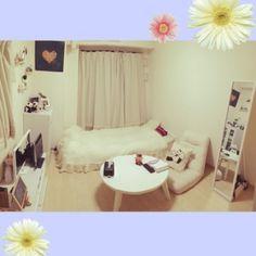 cocoroさんの、部屋全体,白,一人暮らし,狭い部屋,1K,模様替えしました♡,パンダ好き♡,ホワイト&ナチュラル,のお部屋写真