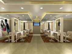 Beauty Salon Interior Design - Neha Unisex Salon - New Delhi Parlour Design, Schönheitssalon Design, Design Ideas, Beauty Bar Salon, Beauty Salon Names, Beauty Salons, Ideas Beauty Salon Interior Design, Interior Ideas, Japanese Hair Salon