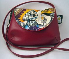 Sugar Skull Tequila Purse in Alexander Henry by CanaryQuilted, $25.00
