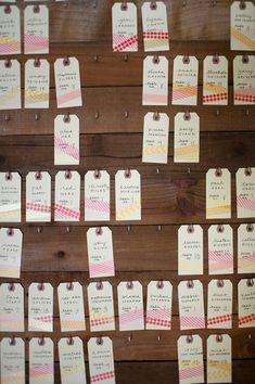 washi tape escort cards // photo by Rahel Menig // view more: http://ruffledblog.com/sweet-los-gatos-wedding