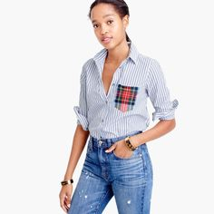 Petite 2 - Petite striped boy shirt with tartan pocket