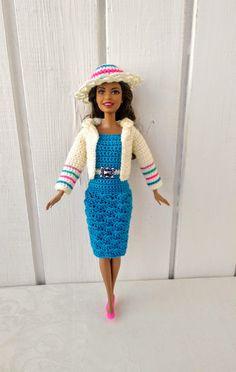 Barbie clothes Barbie Crochet Dress for Barbie Doll, Crochet set, dress, coat, hat Sewing Barbie Clothes, Barbie Clothes Patterns, Sewing Patterns Girls, Girl Dress Patterns, Crochet Doll Clothes, Clothing Patterns, Doily Patterns, Christmas Barbie Dolls, Sewing Blogs
