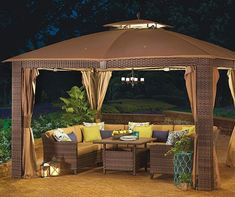 Buy a Wilson & Fisher Sonoma Gazebo and Modular Patio Seating Collection at Big Lots for less. Shop Big Lots Gazebos & Umbrellas in our department for our complete selection. Large Gazebo, Screened Gazebo, Hot Tub Gazebo, Wooden Gazebo, Large Backyard Landscaping, Cozy Backyard, Backyard Gazebo, Backyard Ideas, Backyard Projects