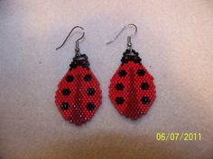 Ladybug beaded earrings