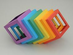 Origami Cubes In Line