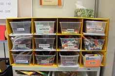 Materials that can easily get messy or jumbled require clear, clean storage. In this case, standard-size and inexpensive clear totes from the dollar store with plain black and white labels, all using the same font, cut down the visual clutter.