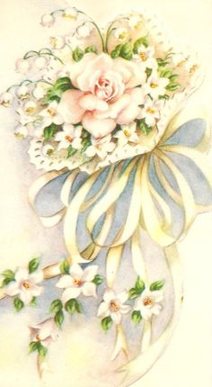 This bouquet is from a vintage greeting card made in Canada. Vintage Wedding Cards, Vintage Greeting Cards, Vintage Postcards, Vintage Bridal, Decoupage Vintage, Decoupage Paper, Vintage Pictures, Vintage Images, Vintage Clip Art