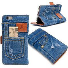 本格デニム iPhone6s / iPhone6 4.7インチ アイフォン6 / アイフォン6sケース カバー 手帳型 保護ケース ポケット付き マグネット式 おしゃれ 横置きスタンド機能付き カード収納ホルダー付き カードポケット アイホンケース スマホケース
