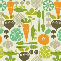 Kitchy Kitchen by Maude Asbury Vegetable Garden Linen by XOgigi, $9.50