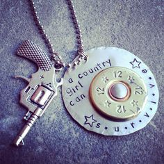 "Hand Stamped ""a country girl can survive"" necklace with authentic shotgun shell accent and revolver charm on Etsy, $27.00"