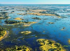 The view from a helicopter ride over the Okavango Delta flood plains, Botswana