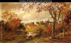Autumn Landscape - Saugerties, New York 1886 - Jasper Francis Cropsey - oil painting reproduction New York Painting, City Painting, Fine Art Amerika, Hudson River School, Oil Painting Reproductions, A4 Poster, Vintage Artwork, Paintings For Sale, Oeuvre D'art