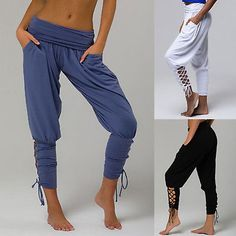 Womens Loose Harem Pants Yoga Gym Dance Boho Ladies Pockets Lace Up Trousers New. Womens Loose Harem Pants Yoga Gym Dance Boho Ladies Pockets Lace Up Trousers New Yoga Harem Pants, Wide Leg Yoga Pants, Yoga Pants With Pockets, Dance Pants, Yoga Pants Outfit, Leggings Are Not Pants, Women's Leggings, Harem Trousers, Yoga Dress