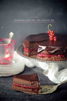Whole wheat chocolate cake and red currant jam