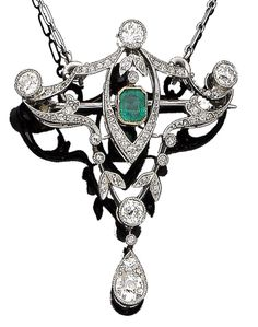 An emerald and diamond brooch/pendant, circa 1910 The openwork cartouche of foliate and ribbon design, centrally collet-set with a step-cut emerald, millegrain-set throughout with old brilliant, single and rose-cut diamonds, to a detachable figaro-link chain, old brilliant and single-cut diamonds approx. 1.95cts total, damaged brooch fitting, lengths: pendant 4.8cm, chain 41.0cm
