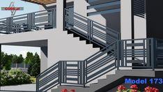 Staircase Design Modern, Modern Stair Railing, Home Stairs Design, Modern Stairs, Home Design Decor, Home Decor, House Main Gates Design, Front Gate Design, Door Gate Design